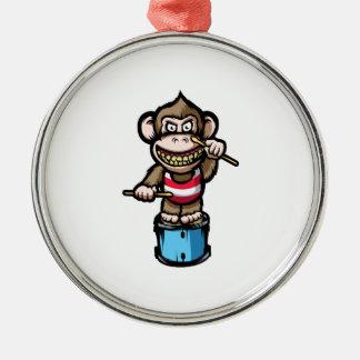 Ape Drum Silver-Colored Round Ornament