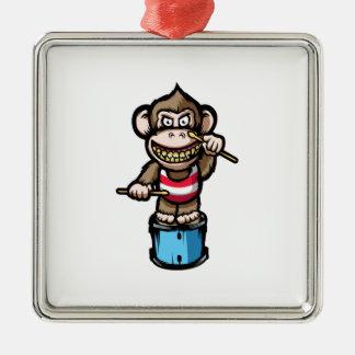 Ape Drum Silver-Colored Square Ornament
