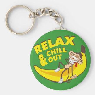 Ape on banana - Relax And chill out! Keychain