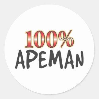 Apeman 100 Percent Round Sticker
