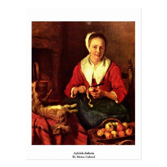 Apfelelschälerin By Metsu Gabriel Postcard