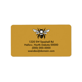 Apis Mellifera Honeybee Address Label Black