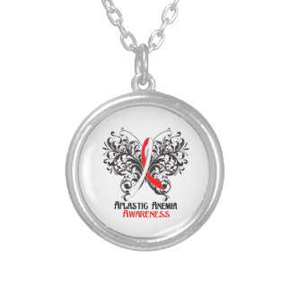 Aplastic Anemia Awareness Butterfly Round Pendant Necklace