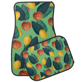 aples and lemons green car mat