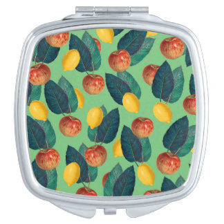 aples and lemons green compact mirror