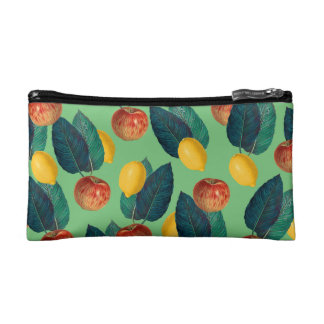 aples and lemons green cosmetic bag