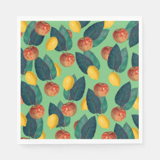 aples and lemons green disposable napkin