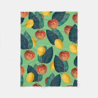 aples and lemons green fleece blanket