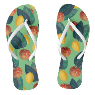 aples and lemons green flip flops