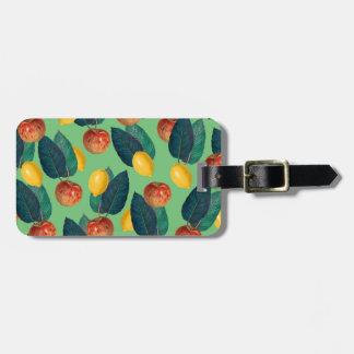 aples and lemons green luggage tag