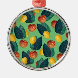 aples and lemons green metal ornament
