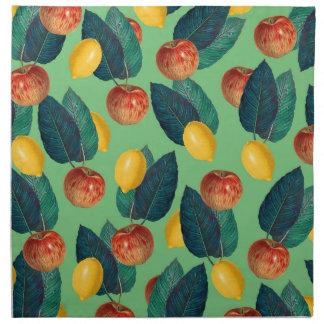 aples and lemons green napkin