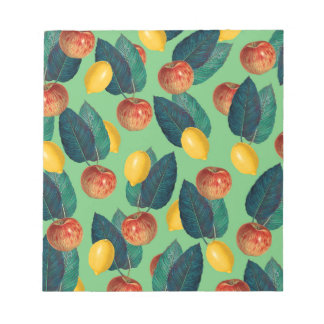 aples and lemons green notepad