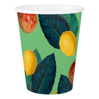 aples and lemons green paper cup