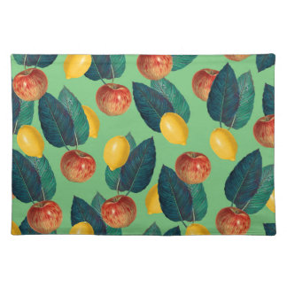 aples and lemons green placemat