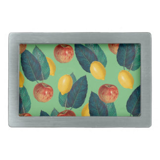 aples and lemons green rectangular belt buckle