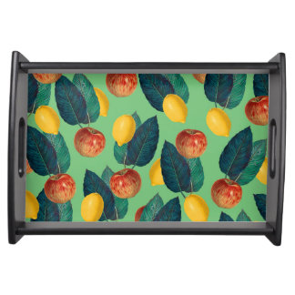 aples and lemons green serving tray