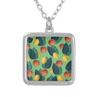 aples and lemons green silver plated necklace