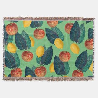 aples and lemons green throw blanket