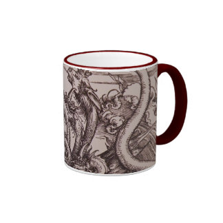 Apocalypse: Medieval scene with Dragons Ringer Coffee Mug