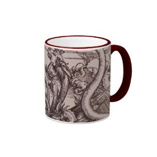 Apocalypse: Medieval scene with Dragons Ringer Mug