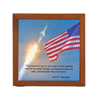 Apollo 11 launch with American Flag Desk Organizer