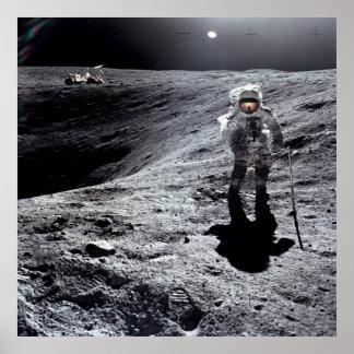 Apollo 16 Astronaut on the Moon Poster