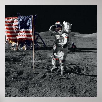 Apollo 17 Astronaut Salutes American Flag Poster