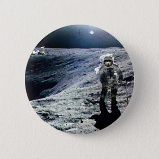 Apollo Astronaut walking on the Moon and crater 2 Inch Round Button