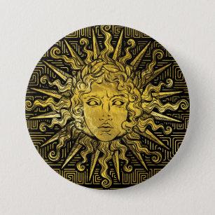 Apollo Sun Symbol On Greek Key Pattern 3 Inch Round Button