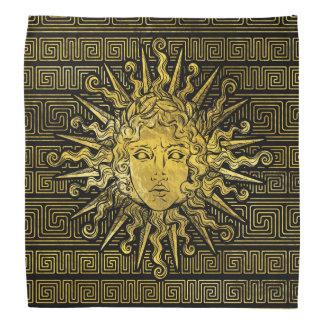Apollo Sun Symbol on Greek Key Pattern Bandana