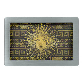 Apollo Sun Symbol on Greek Key Pattern Belt Buckle