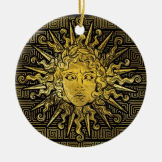 Apollo Sun Symbol on Greek Key Pattern Ceramic Ornament