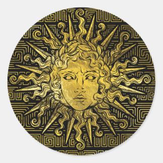 Apollo Sun Symbol on Greek Key Pattern Classic Round Sticker