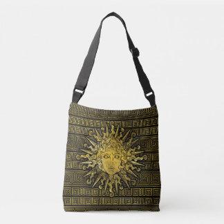 Apollo Sun Symbol on Greek Key Pattern Crossbody Bag