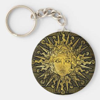 Apollo Sun Symbol on Greek Key Pattern Keychain