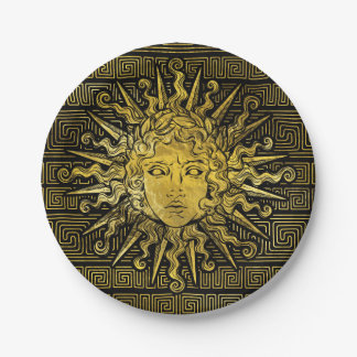 Apollo Sun Symbol on Greek Key Pattern Paper Plate