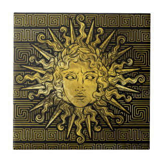 Apollo Sun Symbol on Greek Key Pattern Tile