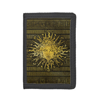 Apollo Sun Symbol on Greek Key Pattern Tri-fold Wallet