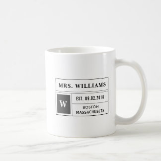 Apothecary Label Style Mr. and Mrs. Mug