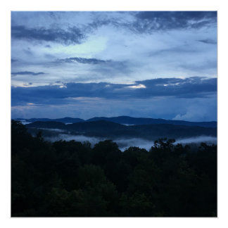 Appalachian Mountain View Dark Blue Colors Poster
