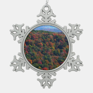 Appalachian Mountains in Fall Nature Photography Pewter Snowflake Ornament