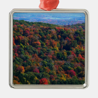 Appalachian Mountains in Fall Nature Photography Silver-Colored Square Ornament