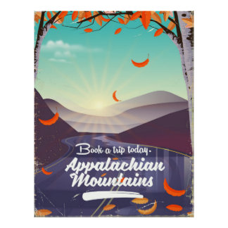Appalachian Mountains vintage travel poster