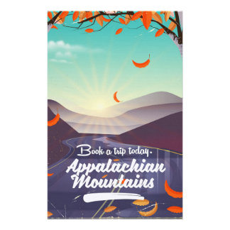 Appalachian Mountains vintage travel poster Stationery