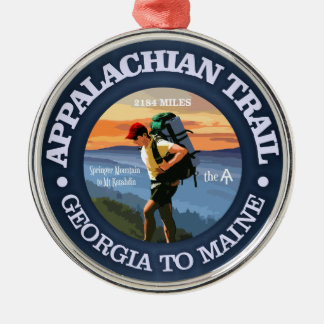 Appalachian Trail (Hiker C) Silver-Colored Round Ornament
