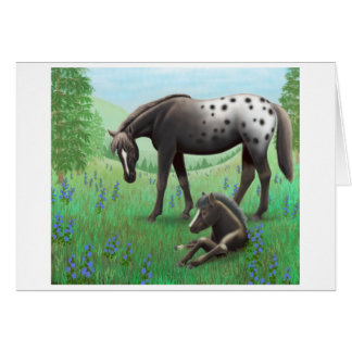 Appaloosa Horse and Foal Card
