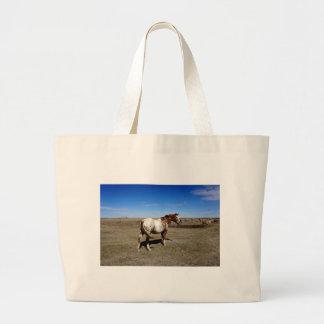 Appaloosa horse on summer prairies large tote bag