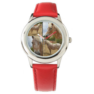 Appaloosa Horse Photo Collage,  Kids Leather Watch