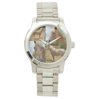 Appaloosa Horse Photo Collage, Large Silver Watch
